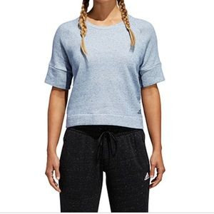 ADIDAS WOMENS CREW NECK SHORT SLEEVE SWEATSHIRT